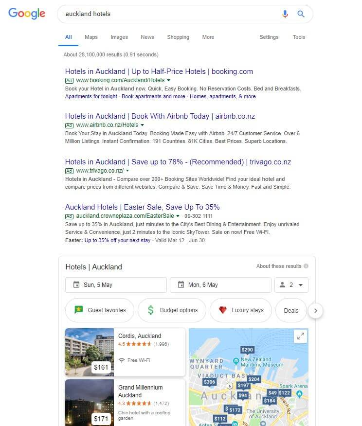 Google Ads Example_Auckland Hotels
